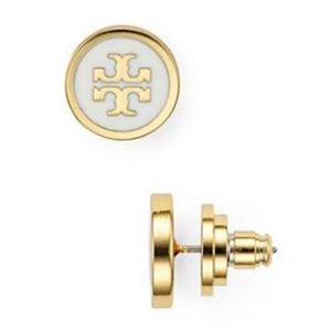 Tory Burch white & gold logo stud earrings